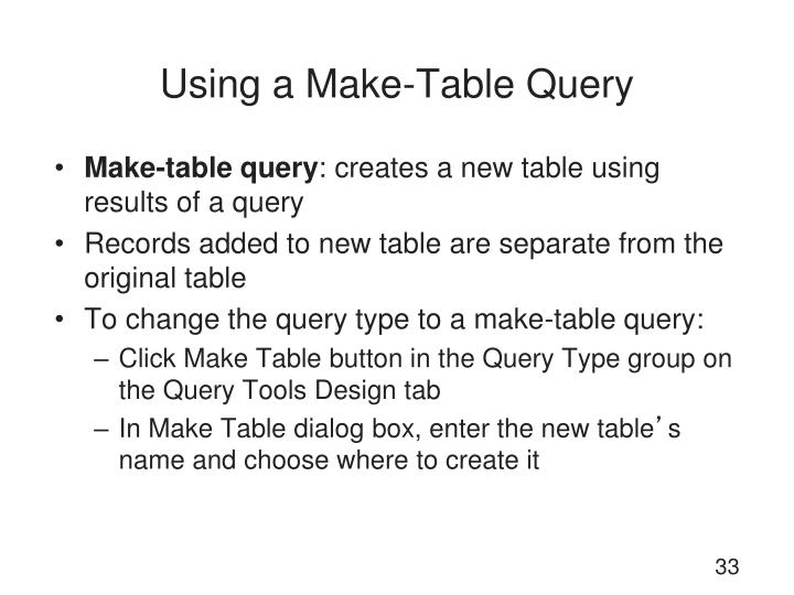 Using a Make-Table Query