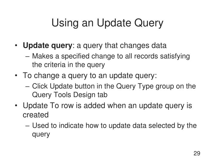 Using an Update Query