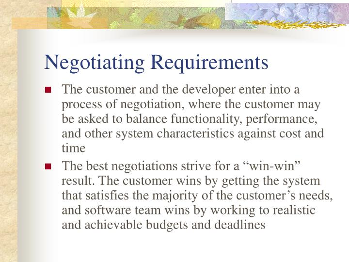 Negotiating Requirements