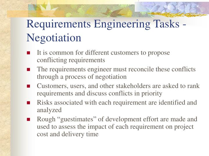 Requirements Engineering Tasks - Negotiation