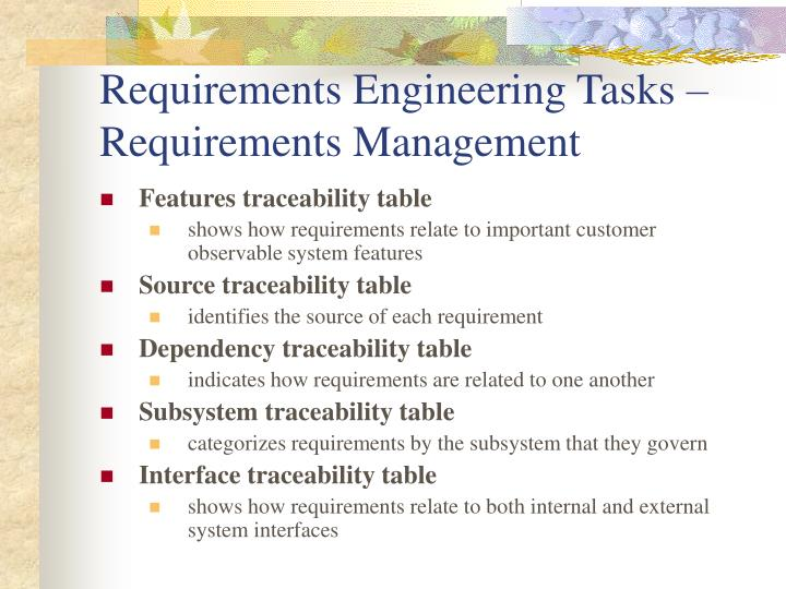 Requirements Engineering Tasks – Requirements Management