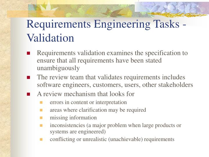 Requirements Engineering Tasks - Validation
