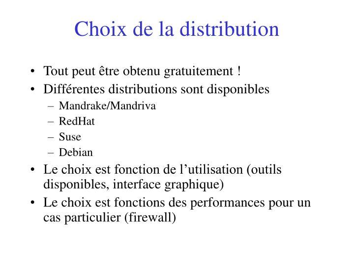 Choix de la distribution