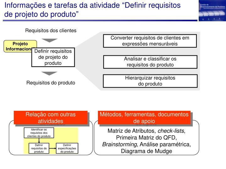 """Informações e tarefas da atividade """"Definir requisitos de projeto do produto"""""""