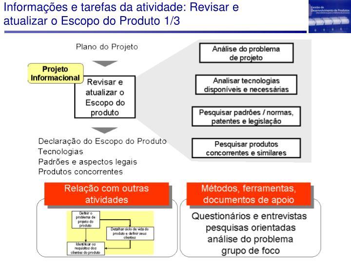 Informações e tarefas da atividade: Revisar e atualizar o Escopo do Produto