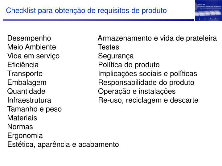 Checklist para obtenção de requisitos de produto