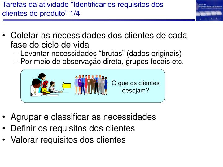 """Tarefas da atividade """"Identificar os requisitos dos clientes do produto"""" 1/4"""