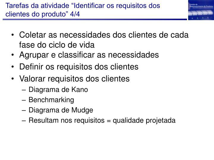 """Tarefas da atividade """"Identificar os requisitos dos clientes do produto"""" 4/4"""