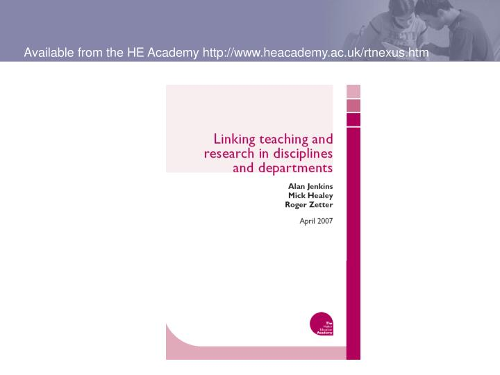 Available from the HE Academy http://www.heacademy.ac.uk/rtnexus.htm