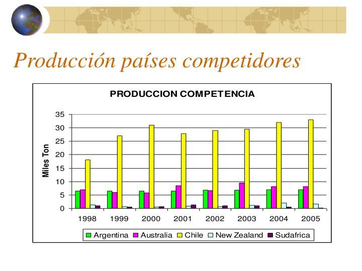 Producción países competidores