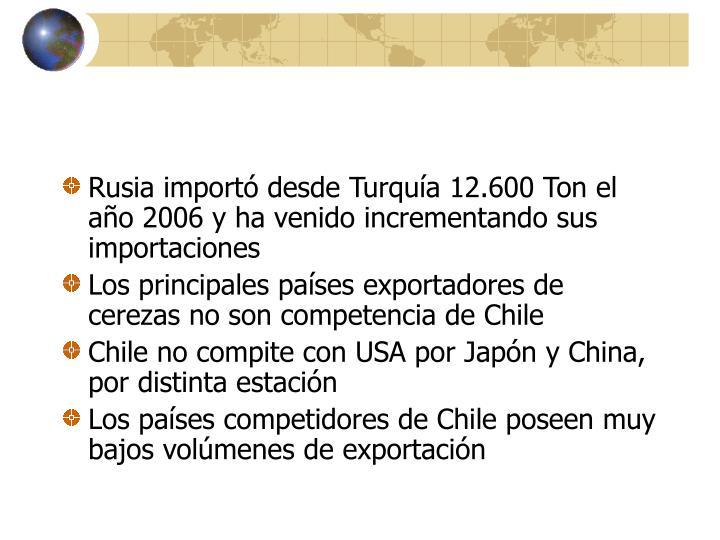Rusia importó desde Turquía 12.600 Ton el año 2006 y ha venido incrementando sus importaciones