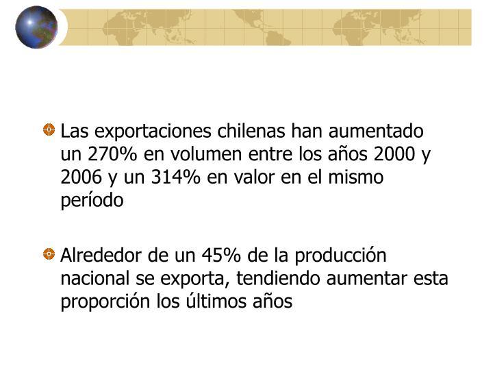 Las exportaciones chilenas han aumentado un 270% en volumen entre los años 2000 y 2006 y un 314% en valor en el mismo período