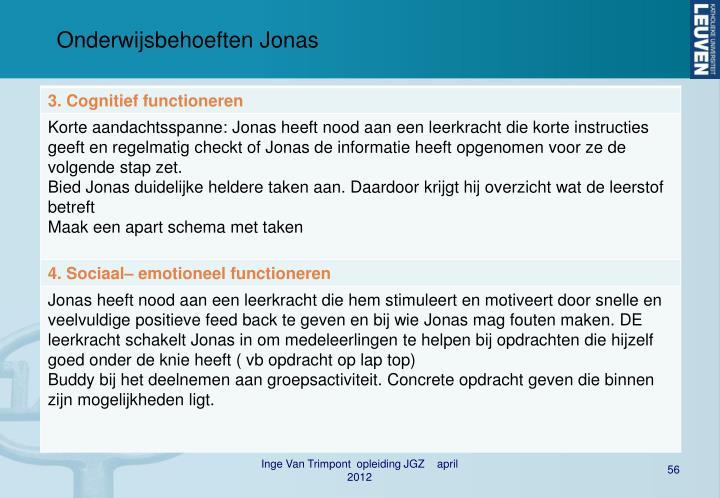 Onderwijsbehoeften Jonas