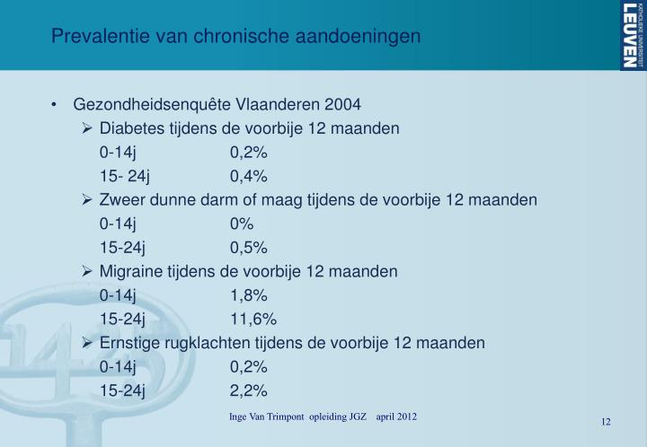 Prevalentie van chronische aandoeningen