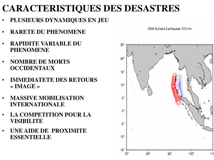 CARACTERISTIQUES DES DESASTRES