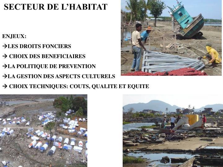 SECTEUR DE L'HABITAT