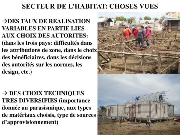 SECTEUR DE L'HABITAT: CHOSES VUES