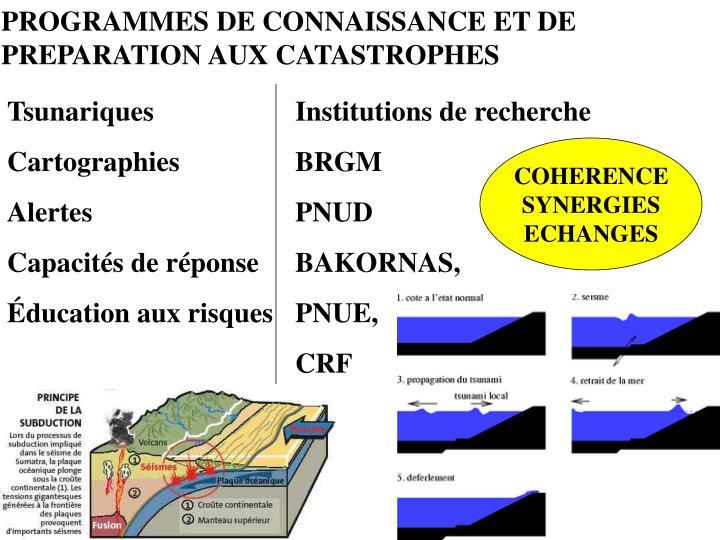 PROGRAMMES DE CONNAISSANCE ET DE PREPARATION AUX CATASTROPHES