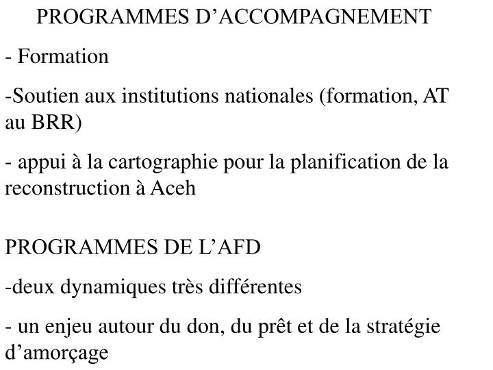 PROGRAMMES D'ACCOMPAGNEMENT