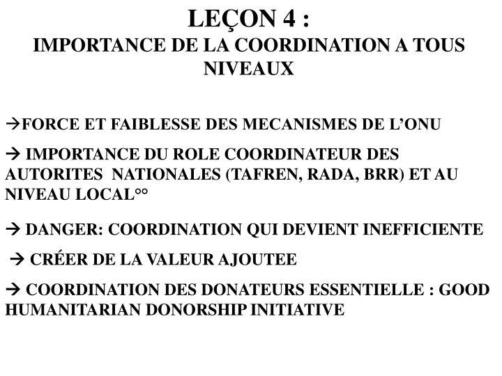 LEÇON 4 :
