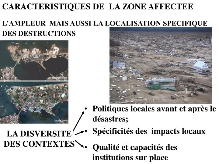 CARACTERISTIQUES DE  LA ZONE AFFECTEE