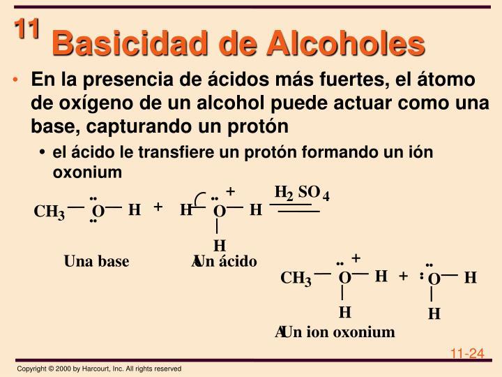 Basicidad de Alcoholes