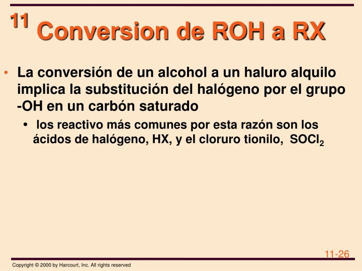 Conversion de ROH a RX