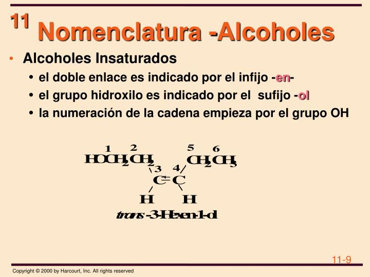 Nomenclatura -Alcoholes