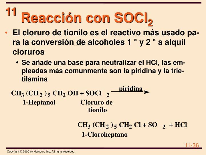 Reacción con SOCl