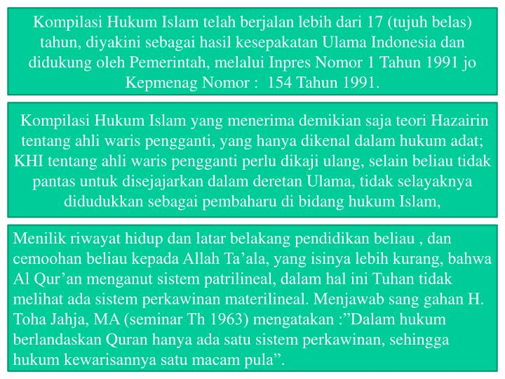 Kompilasi Hukum Islam telah berjalan lebih dari 17 (tujuh belas) tahun, diyakini sebagai hasil kesepakatan Ulama Indonesia dan didukung oleh Pemerintah, melalui Inpres Nomor 1 Tahun 1991 jo Kepmenag Nomor :  154 Tahun 1991.