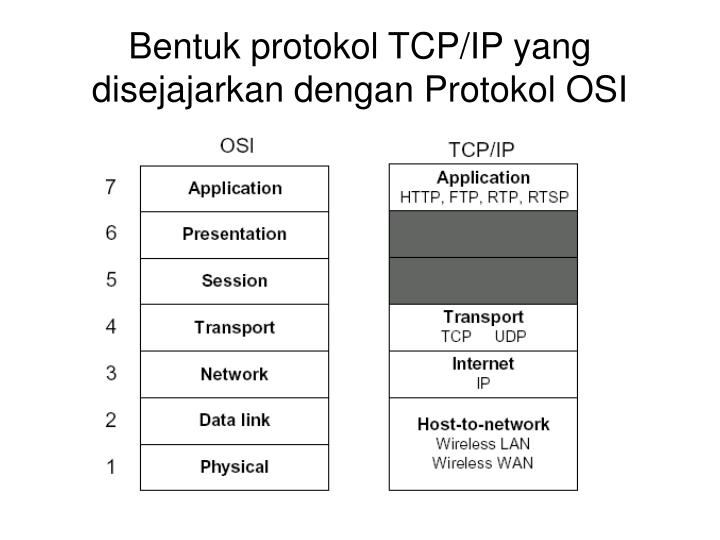 Bentuk protokol TCP/IP yang disejajarkan dengan Protokol OSI