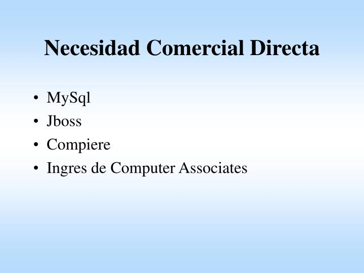 Necesidad Comercial Directa