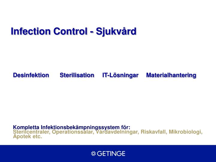 Infection Control - Sjukvård