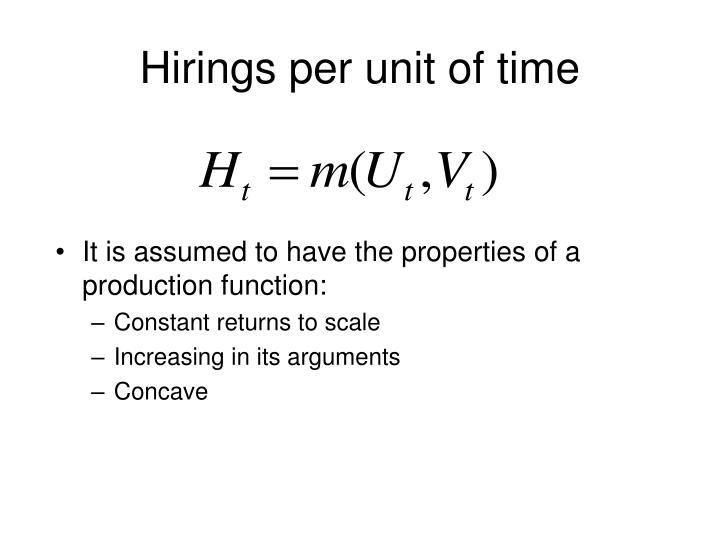 Hirings per unit of time