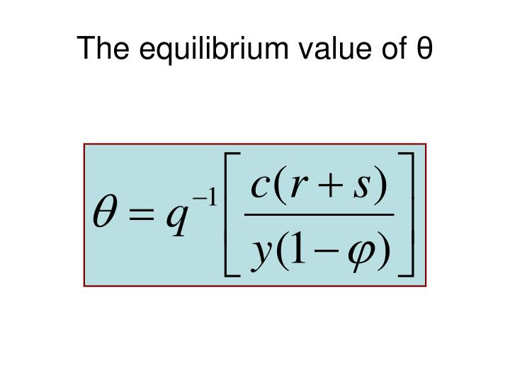 The equilibrium value of
