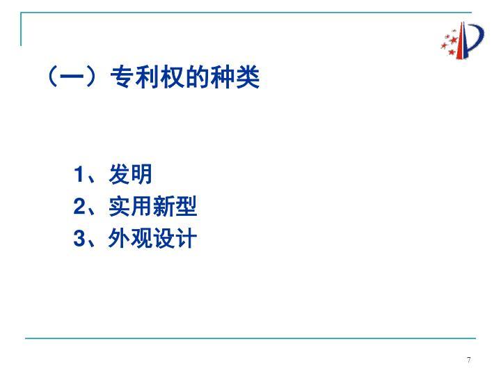 (一)专利权的种类