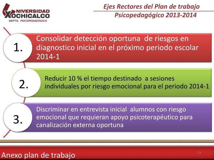 Ejes Rectores del Plan de trabajo Psicopedagógico 2013-2014