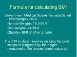formula for calculating bmi