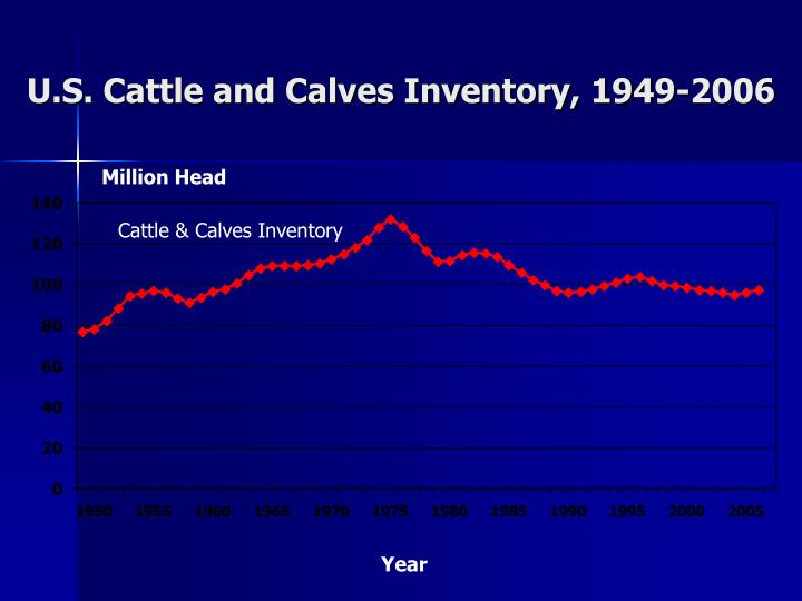U s cattle and calves inventory 1949 2006