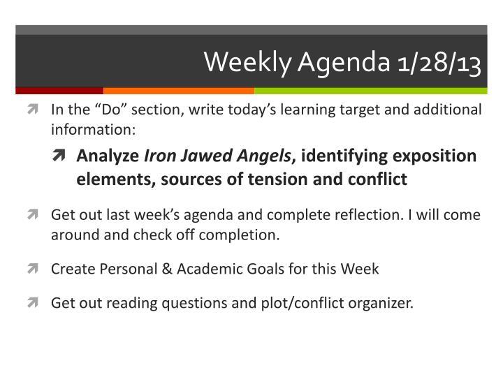 Weekly Agenda 1/28/13