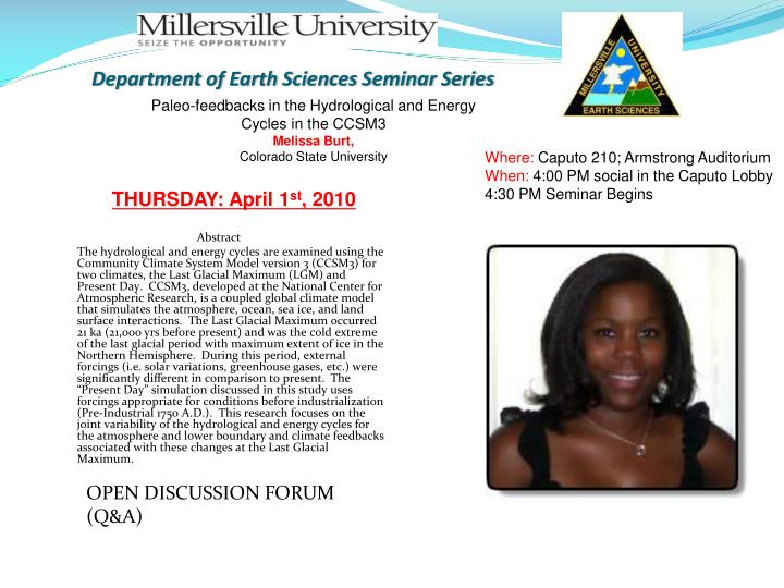 department of earth sciences seminar series