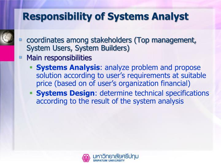 Responsibility of Systems Analyst
