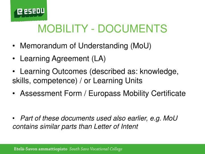 MOBILITY - DOCUMENTS