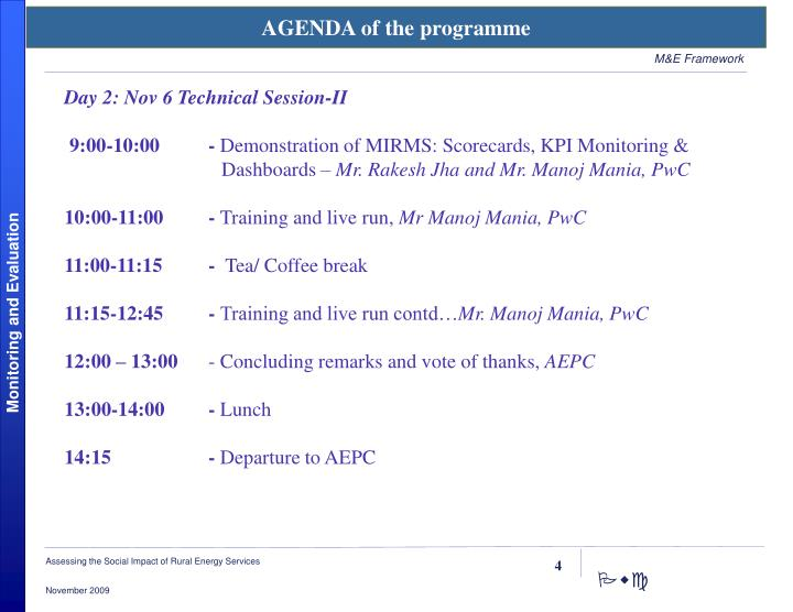 AGENDA of the programme