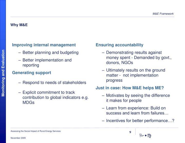 Why M&E