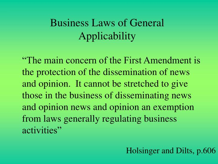 Business Laws of General Applicability