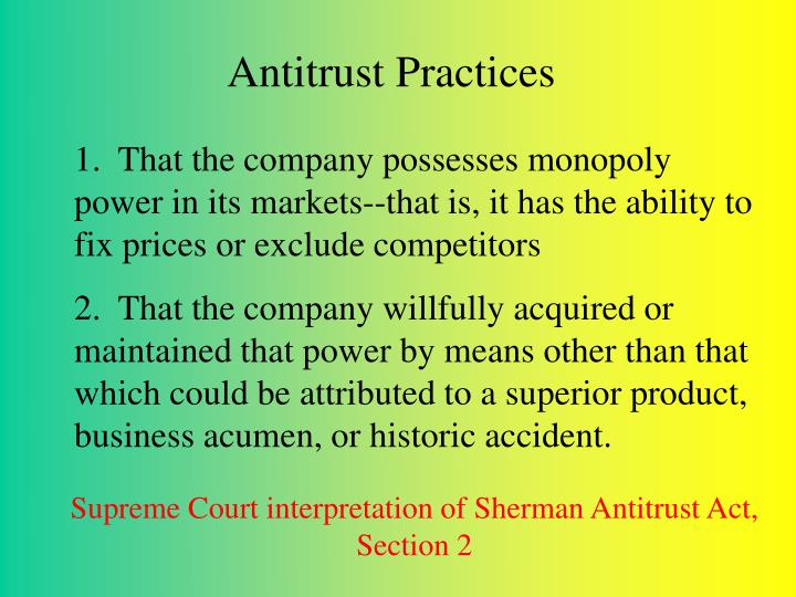 Antitrust Practices