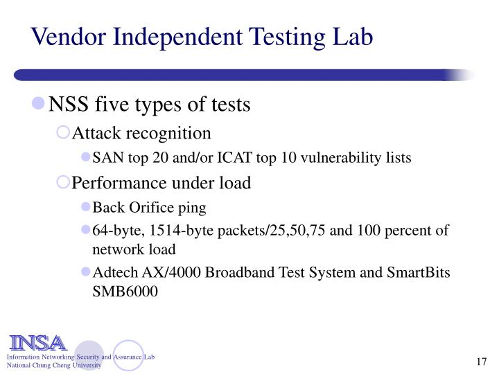 Vendor Independent Testing Lab