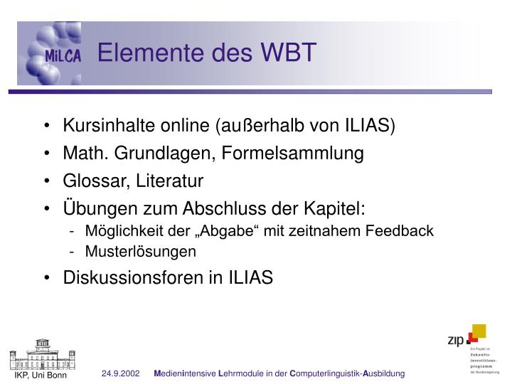 Elemente des WBT