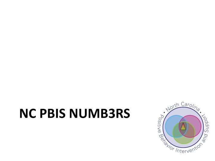 NC PBIS NUMB3RS